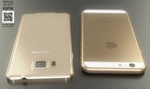 Сравнение сзади айфона 6 и самсунга гэлэкси альфа